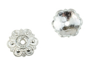 14mm Bead Cap 20 pack Circle Pattern Silver Plated Findings 37887-89