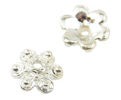 20 Silver plated 10mm Flower Bead Cap Jewellery Making Findings