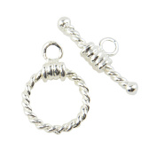 4 pcs Twisted Rope Toggles Silver Plated Jewellery Clasps 18x12mm- 45564-136