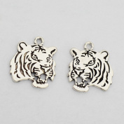 2pcs--tiger Charms Antique Silver Tone 27*24mm