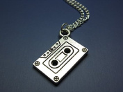 Cassette Necklace - Silver Chain Mix Tape Retro 80s 90s Geeky Nerdy Funky Necklace Quirky Cute Jewellery Punk Geek Nerd Old School