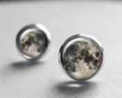 Full Moon Earrings Stud Post, Space Jewellery, Spring Jewellery, Night Sky Earrings, Best Friend Gift, Stud Earings,