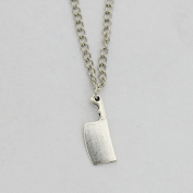 Butcher Knife Necklace - Silver Chain Zombie Weapon Funky Necklace Creepy Cute Necklace Funny Necklace Quirky Jewellery Geek Weird