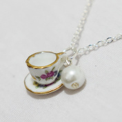 Tea Cup Necklace, Pearl Necklace, Tiny Pink Tea Cup Set, Cooking Party Jewellery, Coffee Cup Necklace, Bridesmaids Jewellery