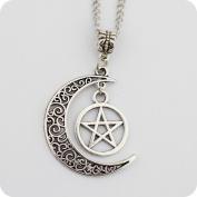 Silver Pentagram and Crescent Moon Pendant - Wiccan Jewellery, Pentacle Necklace, Pentagram Necklace