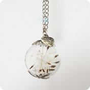 Nature Dandelion Mini Orb Silver Make a Wish Dandelion Seed Glass Wish Pendant