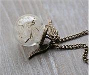 Dandelion Necklace, Wish Necklace, Angel Wings, Keepsake, Personalised Silver Leaf Necklace