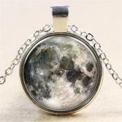 Full Moon Necklace Moon Pendant Galaxy Space Grey Moon Necklace