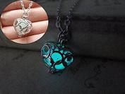 Cyan Glow Necklace Pendant, Heart Necklace, glowing necklace,Glow in the Dark Love Heart Locket Charm Pendant Necklace Ladies Jewellery