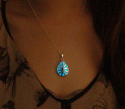 Ocean Water Drop Glowing Necklace Copper Plated Silver Pendant Jewellery 46cm ,Aquamarine Blue