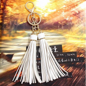 Philna12 Handbag Pendant Leather Tassel Keychain Car Keyring- White