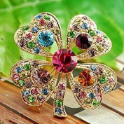 Philna12 Fashion Four leaf Clover Rhinestones Brooch