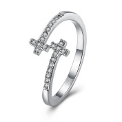 Thumby Copper Platinum Plated 2.4g Romantic Cross Ring for Women,White,Resizable