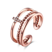 Thumby Copper Rose Gold Plated 3.6g Romantic Cross Line Ring for Women,Gold,Resizable