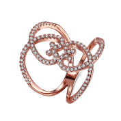 Thumby Copper Rose Gold Plated 5g Romantic Heart Ring for Women,White,Resizable