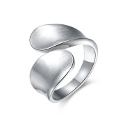 Thumby Tin Alloy Imitation Rhodium Plated 7.1g Trendy Open Ring for Women,White,Resizable