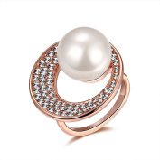 Thumby Tin Alloy Titanium Plated 11g Trendy Pearl Ring for Women,White,Resizable