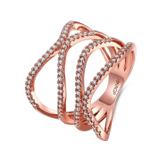Thumby Copper Rose Gold Plated 5.6g Romantic Cross Line Ring for Women,White,Resizable