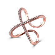 Thumby Copper Rose Gold Plated 3.4g Romantic Butterfly Ring for Women,White,Resizable