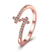 Thumby Copper Rose Gold Plated 2.4g Romantic Cross Ring for Women,White,Resizable