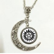 Charm Crescent Moon Supernatural Anti-possession Symbol Silver Pendant Necklace