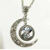 Charm Crescent Moon Astronomical Sundial Globe Pendant Astronomy Necklace Aqua Bronze Astrological Vintage Astronomy Science Jewellery,