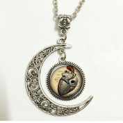 Charm Crescent Moon Anatomical Heart Necklace, Anatomy Jewellery ,Print Photo Pendant,christmas Gift, Necklace Gift,Girlfriend Boyfriend Gift,