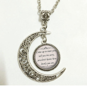 Coldplay the Scientist Song Lyrics Quote,Charm Crescent Moon Quote Necklace,Romantic Music Pendant,Silver Cute Jewellery,Gift for Women and Girls