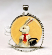 White Rabbit Necklace Magician's Jewellery Bunny with Top Hat Magic Trick Art, Glass Art Jewellery Picture Pendant Photo Pendant Handcrafted Necklace