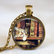 Vintage Books and Cat Pendant Necklace , Book Lover Pendant,glass Dome Art Picture Pendant Photo Pendant Handcrafted Necklace