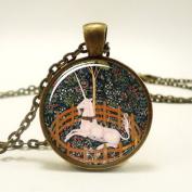 Unicorn Necklace, the Hunt of the Unicorn, Mediaeval Style Art Pendant, Bronze,photo Necklace, Metal and Glass Jewellery, Image Pendant, Picture Necklace, Photo Pendant