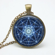 Water Pentagram Wicca Pendant Necklace Wiccan Jewellery Charm, Glass Dome Art Picture Pendant Photo Pendant Handcrafted Necklace