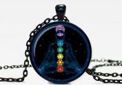 Chakra Symbols Pendant Chakra Symbols Sign,photo Necklace, Metal and Glass Jewellery, Image Pendant, Picture Necklace, Photo Pendant