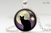 Black Cat Necklace, Black Cat and Purple Jewellery, Black Cat Pendant, Black Cat Glass Art Jewellery Picture Pendant Photo Pendant Handcrafted Necklace