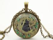 Wiccan Necklace Pendant Black Cat Wiccan Charm Jewellery, Glass Dome Art Pendant, Glass Bezel Art Photo