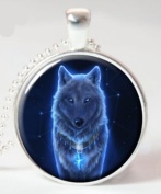 Wolf Necklace, Wolf, Picture Pendant Necklace, Ghost Wolf, Silver Pendant, Glass Art Jewellery Picture Pendant Photo Pendant Handcrafted Necklace
