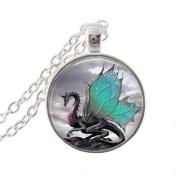 Dragon Pendant Wonderful Dragon Necklace Dragon Art Silver Colour, Glass Dome Art Pendant, Glass Bezel Art Photo