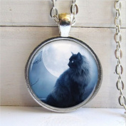 Black Cat Pendant, Cat Necklace, Cat Jewellery, Silver and Glass Charm Necklace, Art Pendant with Ball