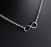 Sterling Double Chain Infinity Necklace Small, Eternity Dainty Infinity Sterling Jewellery