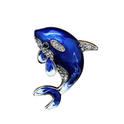 Aikesi Brooch Blue Cute Crystal Alloy Dolphin Brooch Decoration Jewellery Gift Fantasy Blue Rromantic Version of Brooch Pin Scarf buckle Accessories