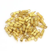 Sauvoo Beads 50Pcs Gold/Silver/Rhodium/Plated Screw Clasps for Necklace Bracelet 12*3mm Clasps Connectors for Jewellery Making