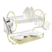 Neotechs® Cream Deluxe 2 Tier Chrome Plate Dish Cup Cutlery Drainer Rack Drip Tray Plates Holder