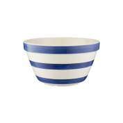 Mason Cash Stripes All Purpose Bowl; Hand Painted; Made From Chip Resistant Earthenware; S24, 20cm by 11cm ; White with Navy Stripes