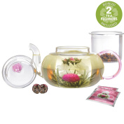 Teabloom Pretty in Pink Rose Teapot - 1000 ml Borosilicate Glass Teapot, 2 Blooming Tea Flowers, Glass Tea Infuser - Thermal Shock Resistant - Stovetop, Microwave Safe
