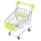 Unique Bargains Metal Mini Trolley Model Removable Storage Rack 10cm High Green