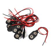 10 Pcs 9V Block Battery Clips Black Faux Leather Buckles I-type DIY Connectors