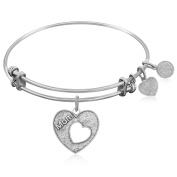 "Silver-Plated Brass Expandable Bangle with ""Mother's Special Love"" Symbol"
