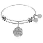 "Silver-Plated Brass Expandable Bangle with ""Brides Maid"" Symbol"