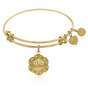 "Yellow Gold-Plated Brass Expandable Bangle with ""Mom"" Symbol"