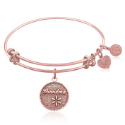 "Rose Gold-Plated Pink Brass Expandable Bangle with ""Grandma Tie That Binds"" Symbol"